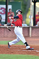 Elizabethton Twins third baseman Trey Cabbage (45) swings at a pitch during a game against the Bristol Pirates at Joe O'Brien Field on July 30, 2016 in Elizabethton, Tennessee. The Twins defeated the Pirates 6-3. (Tony Farlow/Four Seam Images)