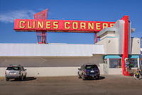 Clines Corners has been a route 66 service station since 1934 when Roy Cline built the first Clines Corners, which has relocated serveral times as the Route 66 was realigned.  The current Clines Corners has over 30,000 sq. ft. of retail space and is New Mexico's largest Gift Shop.
