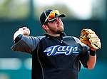 13 March 2010: Toronto Blue Jays' infielder Jarrett Hoffpauir warms up prior to a Spring Training game against the Atlanta Braves at Champion Stadium in the ESPN Wide World of Sports Complex in Orlando, Florida. The Blue Jays shut out the Braves 3-0 in Grapefruit League action. Mandatory Credit: Ed Wolfstein Photo