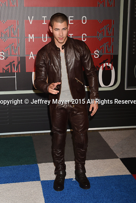 LOS ANGELES, CA - AUGUST 30: Singer/actor Nick Jonas arrives at the 2015 MTV Video Music Awards at Microsoft Theater on August 30, 2015 in Los Angeles, California.