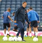 Frank de Boer leads out the Dutch team for training at Hampden