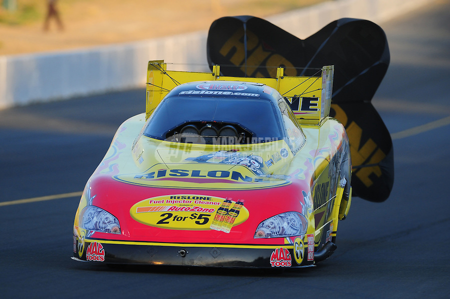 Jul. 29, 2011; Sonoma, CA, USA; NHRA funny car driver Paul Lee during qualifying for the Fram Autolite Nationals at Infineon Raceway. Mandatory Credit: Mark J. Rebilas-