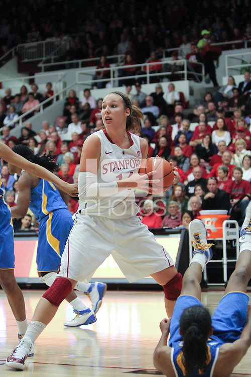 STANFORD, CA - January 20, 2011: Kayla Pedersen pulls down a defensive rebound during Stanford's 64-38 victory over UCLA at Stanford, California on January 20, 2011.