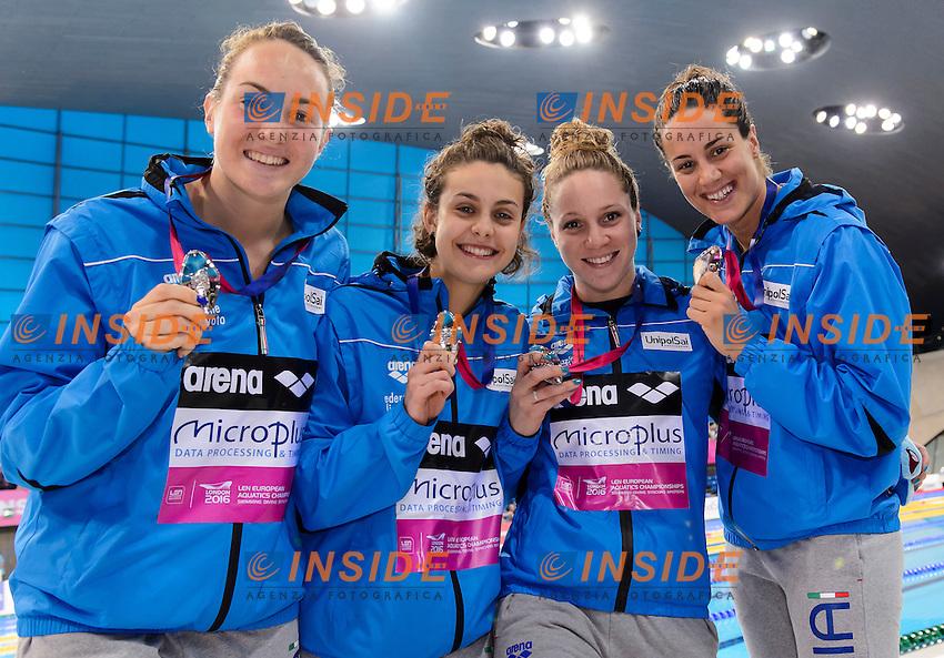 ITALY Silver Medal <br /> ZOFKOVA Carlotta CARRARO Martina BIANCHI Ilaria <br /> FERRAIOLI Erika <br /> 4X100m Medley Women Final <br /> London, Queen Elizabeth II Olympic Park Pool <br /> LEN 2016 European Aquatics Elite Championships <br /> Swimming<br /> Day 14 22-05-2016<br /> Photo Andrea Staccioli/Deepbluemedia/Insidefoto