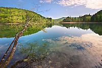 One of Plitvice mineral water lakes . Plitvice ( Plitvika ) Lakes National Park, Croatia. A UNESCO World Heritage Site