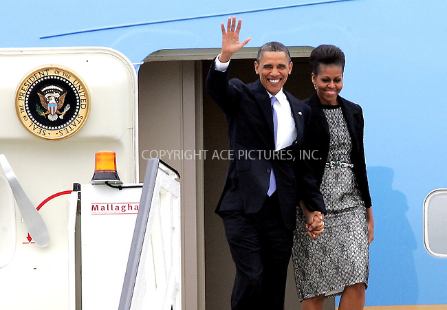 WWW.ACEPIXS.COM . . . . .  ..... . . . . US SALES ONLY . . . . .....May 23 2011, Ireland....US President Barack Obama and First Lady Michelle Obama arrive at Dublin Airport on May 23 2011 in Ireland....Please byline: FAMOUS-ACE PICTURES... . . . .  ....Ace Pictures, Inc:  ..Tel: (212) 243-8787..e-mail: info@acepixs.com..web: http://www.acepixs.com