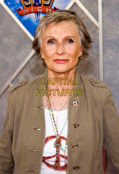 CLORIS LEACHMAN.Walt Disney Pictures' World Premiere of 'Sky High' held at the El Capitan Theatre, Hollywood, California.  .July 24th, 2005.Photo Credit: Zach Lipp/AdMedia.half length peace sign t shirt t-shirt brown jacket beaded necklaces.www.capitalpictures.com.sales@capitalpictures.com.© Capital Pictures.