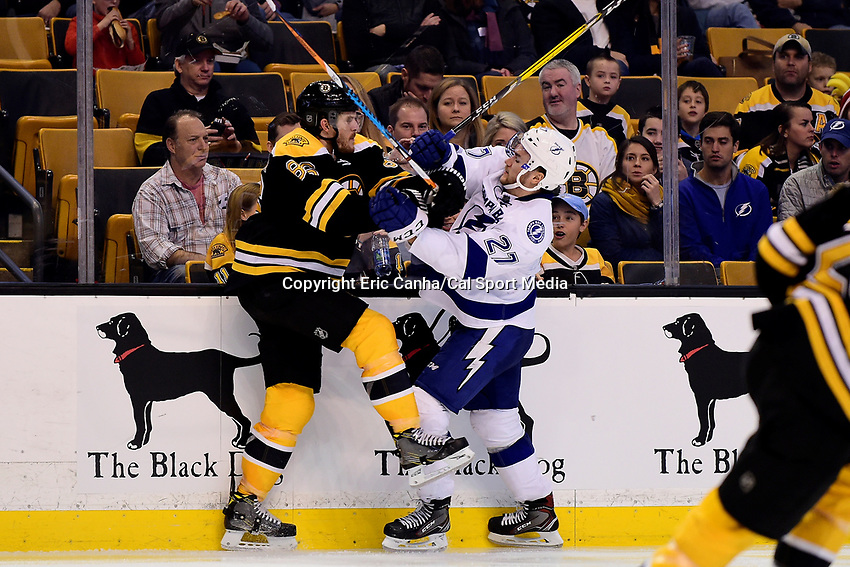 Sunday, November 27, 2016: Boston Bruins defenseman Kevan Miller (86) and Tampa Bay Lightning left wing Jonathan Drouin (27) in game action during the National Hockey League game between the Tampa Bay Lightning and the Boston Bruins held at TD Garden, in Boston, Mass. Eric Canha/CSM