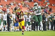 Landover, MD - August 16, 2018: Washington Redskins wide receiver Shay Fields (16) tries to catch a pass during the preseason game between New York Jets and Washington Redskins at FedEx Field in Landover, MD.   (Photo by Elliott Brown/Media Images International)