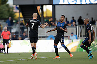 SAN JOSE, CA - AUGUST 03: Magnus Eriksson celebrates scoring  during a Major League Soccer (MLS) match between the San Jose Earthquakes and the Columbus Crew on August 03, 2019 at Avaya Stadium in San Jose, California.