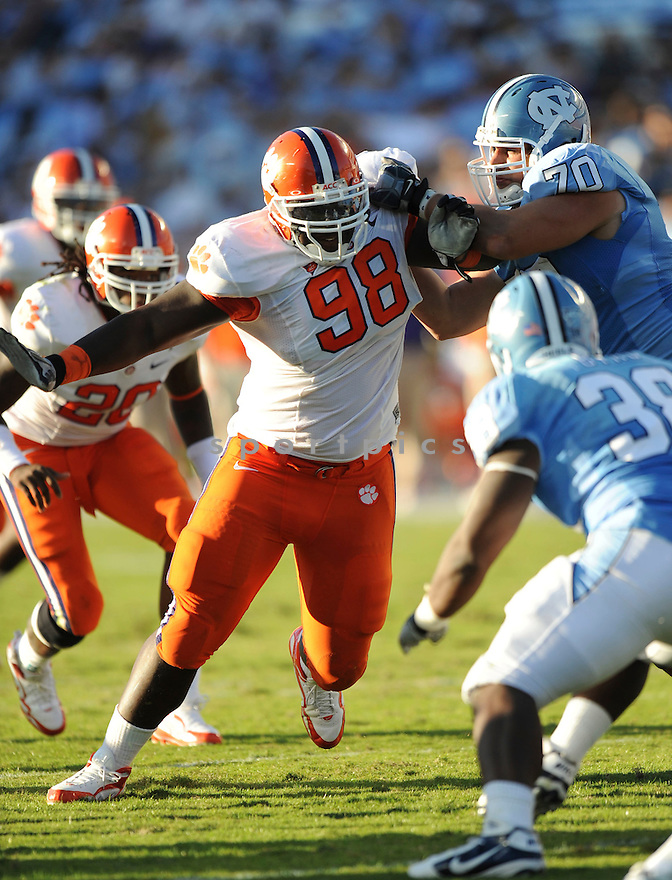 BRANDON THOMPSON, of the Clemson Tigers, in action during the Clemson Tigers game against the North Carolina Tarheels at Kenan Stadium on October 09, 2010  in Chapel Hill, NC..North Carolina 21 beats Clemson 16.