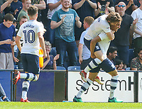 Preston North End's Callum Robinson celebrates scoring his side's first goal with teammate Ben Pearson<br /> <br /> Photographer Alex Dodd/CameraSport<br /> <br /> The EFL Sky Bet Championship - Preston North End v Burton Albion - Sunday 6th May 2018 - Deepdale Stadium - Preston<br /> <br /> World Copyright &copy; 2018 CameraSport. All rights reserved. 43 Linden Ave. Countesthorpe. Leicester. England. LE8 5PG - Tel: +44 (0) 116 277 4147 - admin@camerasport.com - www.camerasport.com