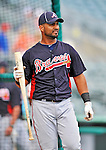 13 March 2012: Atlanta Braves infielder Ernesto Mejia awaits his turn in the batting cage prior to a Spring Training game against the Miami Marlins at Roger Dean Stadium in Jupiter, Florida. The two teams battled to a 2-2 tie playing 10 innings of Grapefruit League action. Mandatory Credit: Ed Wolfstein Photo