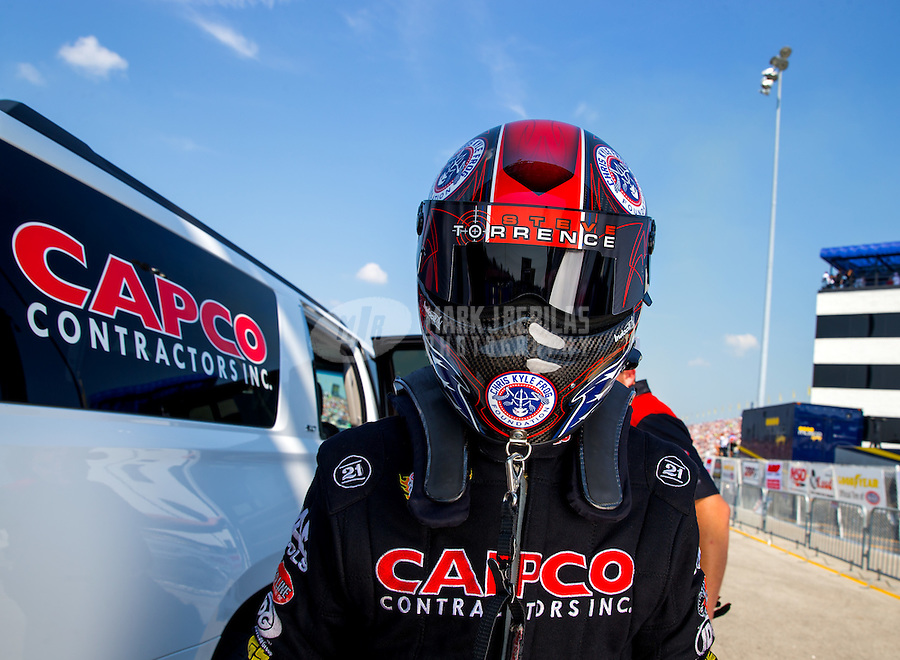 Sep 6, 2015; Clermont, IN, USA; NHRA top fuel driver Steve Torrence during qualifying for the US Nationals at Lucas Oil Raceway. Mandatory Credit: Mark J. Rebilas-USA TODAY Sports