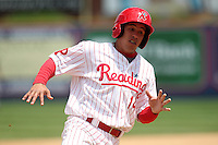Reading Phillies second baseman Fidel Hernandez #14 runs the bases during a game against the New Hampshire Fisher Cats at FirstEnergy Stadium on May 5, 2011 in Reading, Pennsylvania.  New Hampshire defeated Reading by the score of 10-5.  Photo By Mike Janes/Four Seam Images