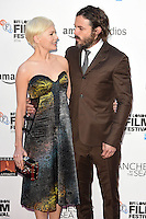 "Michelle Williams and Casey Affleck<br /> at the London Film Festival premiere for ""Manchester by the Sea"" at the Odeon Leicester Square, London.<br /> <br /> <br /> ©Ash Knotek  D3164  08/10/2016"