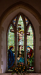 Stained glass window in church of Saint Margaret, Chilmark, Wiltshire, England, UK - 1877 Heaton, Butler and Bayne, Crucifixion
