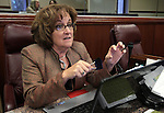 Nevada Assemblywoman Debbie Smith, D-Sparks, speaks at her desk on the Assembly floor Friday, May 20, 2011, at the Legislature in Carson City, Nev. Smith's proposals on education reforms that make it easier to fire underperforming teachers were passed out of a Senate committee Friday. .Photo by Cathleen Allison
