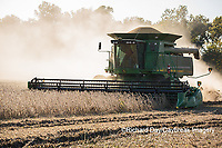 63801-07309 Soybean harvest with John Deere combine in Marion Co. IL