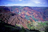 Waipoo Falls, Waimea Canyon, west Kauai, as seen from overlook along Waimea canyon Drive