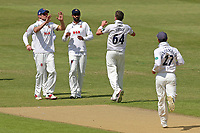 Peter Siddle of Essex celebrates with his team mates after taking the wicket of Brett D'Oliveira during Worcestershire CCC vs Essex CCC, Specsavers County Championship Division 1 Cricket at New Road on 13th May 2018