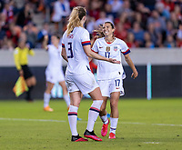 HOUSTON, TX - FEBRUARY 03: Sam Mewis #3 celebrates with Tobin Heath #17 of the United States during a game between Costa Rica and USWNT at BBVA Stadium on February 03, 2020 in Houston, Texas.