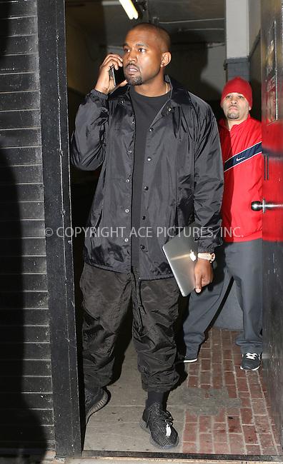 WWW.ACEPIXS.COM<br /> <br /> April 16 2016, New York City<br /> <br /> Rapper Kanye West was out in Manhattan on April 16 2016 in New York City<br /> <br /> By Line: Nancy Rivera/ACE Pictures<br /> <br /> <br /> ACE Pictures, Inc.<br /> tel: 646 769 0430<br /> Email: info@acepixs.com<br /> www.acepixs.com