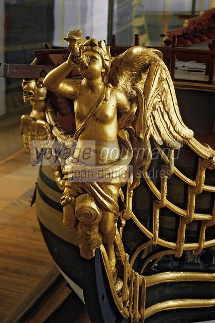 """Europe/France/Poitou-Charente/17/Charente-Maritime/Rochefort: Le musée naval - Détail de la maquette du """"Dauphin Royal"""" (1752) vaisseau de premier rang"""