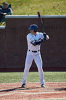 Hunter Dula (17) of the Wingate Bulldogs at bat against the Concord Mountain Lions at Ron Christopher Stadium on February 2, 2020 in Wingate, North Carolina. The Mountain Lions defeated the Bulldogs 12-11. (Brian Westerholt/Four Seam Images)