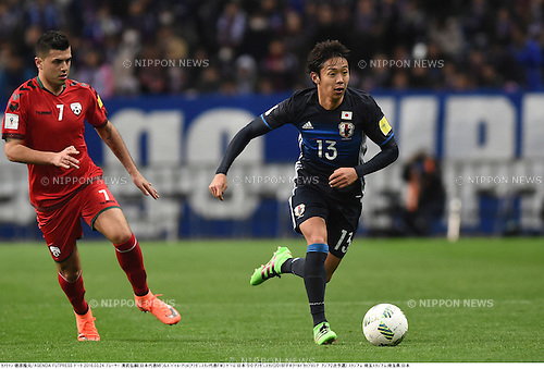 Zubayr Amiri (AFG), Hiroshi Kiyotake (JPN),<br /> MARCH 24, 2016 - Football / Soccer :<br /> FIFA World Cup Russia 2018 Asian Qualifier Second Round Group E match between Japan 5-0 Afghanistan at Saitama Stadium 2002 in Saitama, Japan. (Photo by Takamoto Tokuhara/AFLO)
