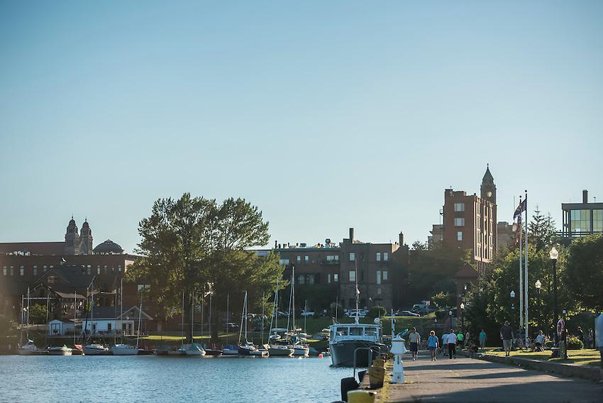 Downtown Marquette, Michigan on Lake Superior on Michigan's Upper Peninsula.
