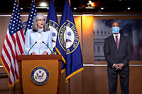 United States Representative Katherine Clark (Democrat of Massachusetts), left, joined by United States Representative Hakeem Jeffries (Democrat of New York), speaks during a news conference at the United States Capitol in Washington D.C., U.S., on Monday, June 29, 2020.  Credit: Stefani Reynolds / CNP /MediaPunch