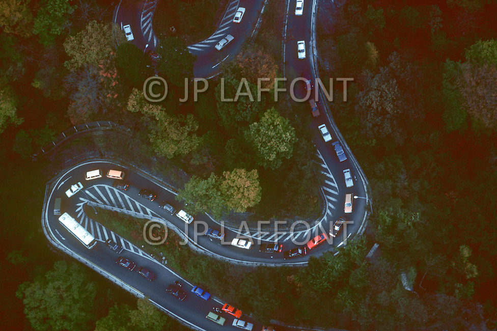 October, 1980. Tokyo, Japan. Aerial views of highways on the outskirts of Tokyo, leading to the country.