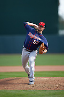 Minnesota Twins relief pitcher Ryan Pressly (57) delivers a pitch during a Spring Training game against the Baltimore Orioles on March 7, 2016 at Ed Smith Stadium in Sarasota, Florida.  Minnesota defeated Baltimore 3-0.  (Mike Janes/Four Seam Images)