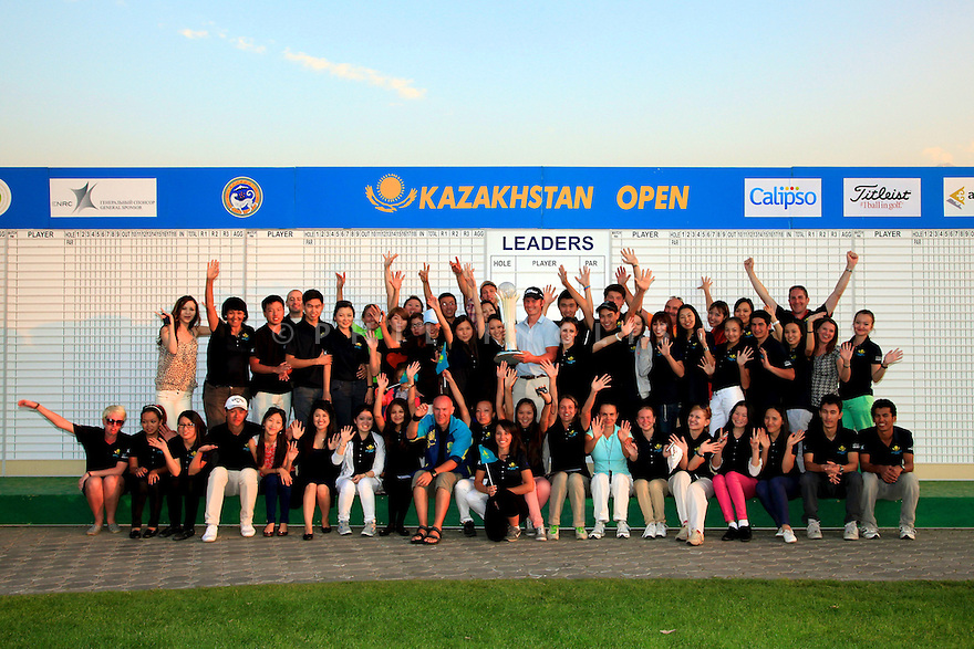 Scott Henry (SCO) with helpers and volunteers after the final round of the Kazakhstan Open played at Zhailjau Golf Resort, Almaty on September 16, 2012 in Almaty, Kazakhstan.(Picture Credit / Phil Inglis)