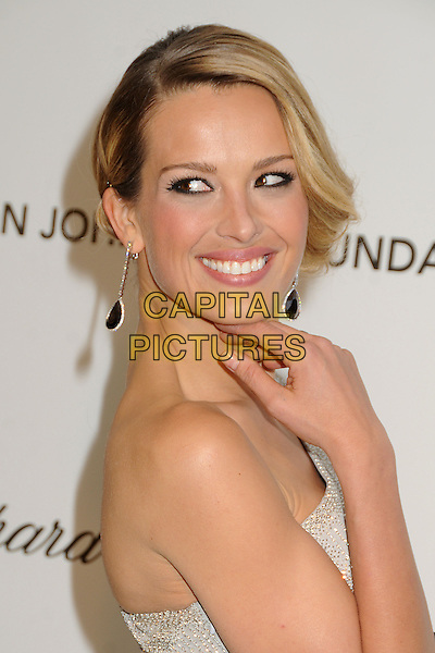Petra Nemcova.21st Annual Elton John Academy Awards Viewing Party held at West Hollywood Park, West Hollywood, California, USA..February 24th, 2013.oscars headshot portrait side one shoulder silver grey gray sparkly dangling earrings hand arm side .CAP/ADM/BP.©Byron Purvis/AdMedia/Capital Pictures.