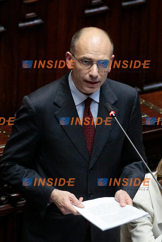 Enrico Letta .Roma 28/04/2013 Camera. Voto di fiducia al nuovo Governo..Lower House. Trust vote to the new Government.Photo Samantha Zucchi Insidefoto