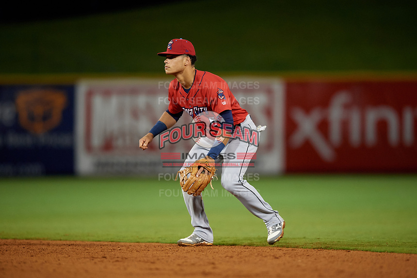Jacksonville Jumbo Shrimp second baseman Bryson Brigman (6) during a Southern League game against the Mississippi Braves on May 4, 2019 at Trustmark Park in Pearl, Mississippi.  Mississippi defeated Jacksonville 2-0.  (Mike Janes/Four Seam Images)