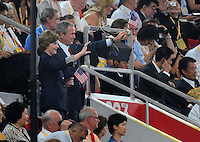 Aug. 8, 2008; Beijing, CHINA; United States president George Bush and wife Laura Bush wave to the United States athletes as they march into the arena during the opening ceremonies for the 2008 Beijing Olympic Games at the National Stadium. Mandatory Credit: Mark J. Rebilas-