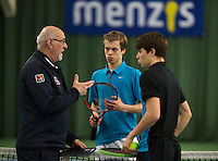 Rotterdam, The Netherlands, March 19, 2016,  TV Victoria, NOJK 14/18 years, Umpire Boy Molmans does the toss with Julian Prins (M) and Ryan Nijboer<br /> Photo: Tennisimages/Henk Koster