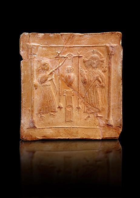 6th-7th Century Eastern Roman Byzantine  Christian Terracotta tiles depicting Christ changing Water into wine - Produced in Byzacena -  present day Tunisia. <br />
