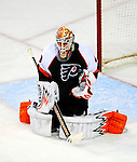 15 November 2008:  Philadelphia Flyers' goaltender Martin Biron makes a save against the Montreal Canadiens in the second period at the Bell Centre in Montreal, Quebec, Canada.  The Canadiens, celebrating their 100th season, fell to the visiting Flyers 2-1. ***Editorial Sales Only***..Mandatory Photo Credit: Ed Wolfstein Photo *** Editorial Sales through Icon Sports Media *** www.iconsportsmedia.com
