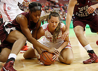 Ohio State's Aleksandra Dobranic (15) goes to the floor with North Carolina's Tisha Dixon (25) during a women's basketball game between the Ohio State Buckeyes and the North Carolina Central Eagles on December 29, 2013 at Value City Arena. (Columbus Dispatch photo by Fred Squillante)