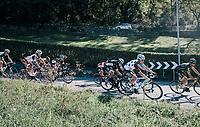 Jan Bakelants (BEL/AG2R-LaMondiale) coming down the Colle Gallo (763m)<br /> <br /> Il Lombardia 2017<br /> Bergamo to Como (ITA) 247km