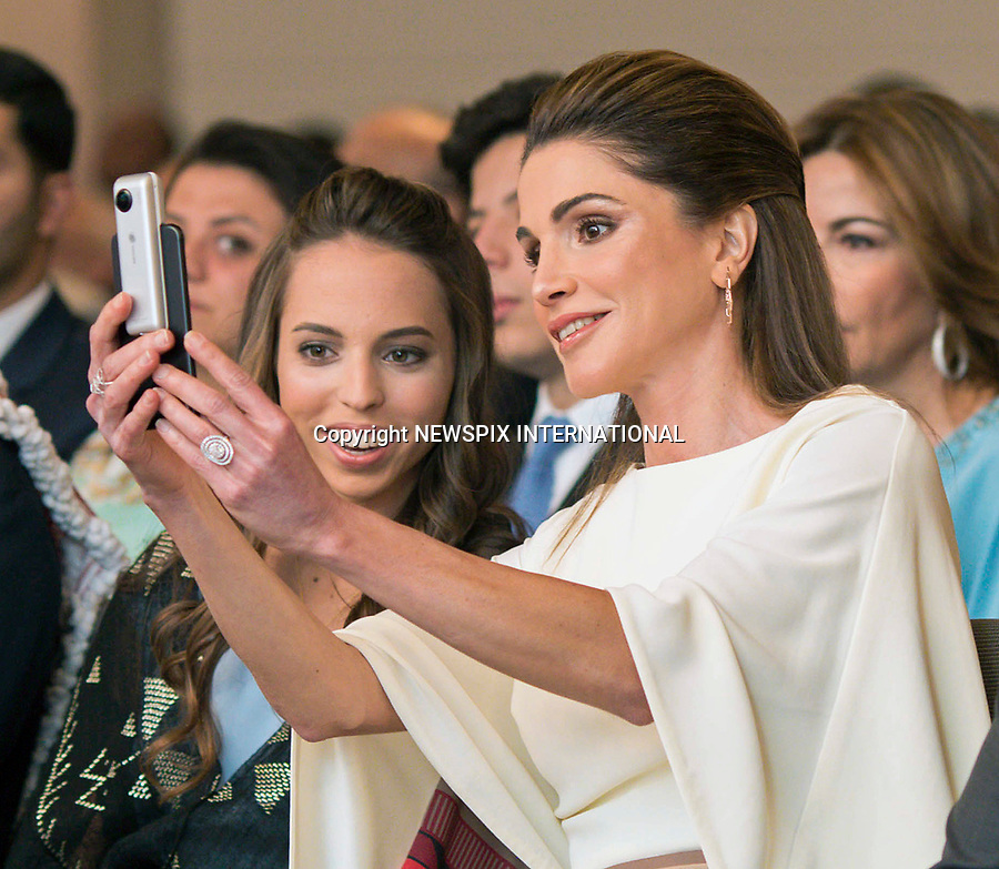 25.05.2017; Amman, Jordan: QUEEN RANIA TAKES A SELFIUE WITH DAUGHTER PRINCESS SALMA<br /> during the national celebrations on the occasion of the 71st anniversary of Jordan's Independence Day at Raghadan Palace, Amman<br /> Mandatory Photo Credit: &copy;RHC/NEWSPIX INTERNATIONAL<br /> <br /> IMMEDIATE CONFIRMATION OF USAGE REQUIRED:<br /> Newspix International, 31 Chinnery Hill, Bishop's Stortford, ENGLAND CM23 3PS<br /> Tel:+441279 324672  ; Fax: +441279656877<br /> Mobile:  0777568 1153<br /> e-mail: info@newspixinternational.co.uk<br /> &ldquo;All Fees Payable To Newspix International&rdquo;