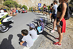 Young fans watch the race on the slopes of Sierra de la Alfaguara near the finish of Stage 4 of the La Vuelta 2018, running 162km from Velez-Malaga to Alfacar, Sierra de la Alfaguara, Andalucia, Spain. 28th August 2018.<br /> Picture: Eoin Clarke | Cyclefile<br /> <br /> <br /> All photos usage must carry mandatory copyright credit (&copy; Cyclefile | Eoin Clarke)