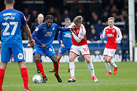 Anthony Grant of Peterborough United holds off Conor McAleny of Fleetwood Town during the Sky Bet League 1 match between Peterborough and Fleetwood Town at London Road, Peterborough, England on 28 April 2018. Photo by Carlton Myrie.