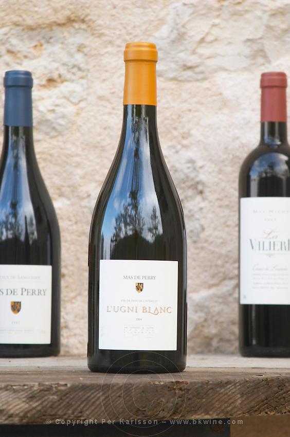 Ugni Blanc Vins de Pays de l'Herault. Mas de Perry, Mas Nicot. Terrasses de Larzac. Languedoc. France. Europe. Bottle.