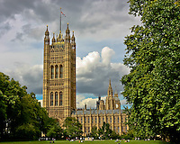 View from the lawn of the Houses of Parliament in London
