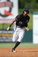Joel Booker (23) of the Kannapolis Intimidators hustles towards third base against the Hagerstown Suns at Kannapolis Intimidators Stadium on June 15, 2017 in Kannapolis, North Carolina.  The Intimidators walked-off the Suns 5-4 in game one of a double-header.  (Brian Westerholt/Four Seam Images)